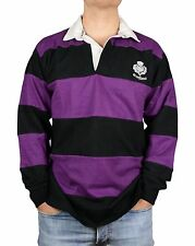 Mens Scotland Rugby Top, Full Sleeve, Purple & Black Hooped, All Sizes