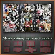 ' Banksy Collage Montage ' Graffiti Art Decorative Wall Canvas ~ 3 Panels