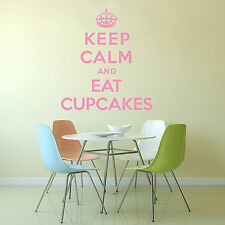 Keep Calm And Eat Cupcakes  Wall Sticker Art Decal Vinyl Quote Kitchen Bathroom