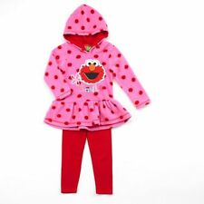 SESAME STREET Girl's 2T, 3T, 4T Polar Fleece Pink ELMO Tunic, Leggings Set, NEW