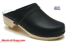 AM Toffeln 100 Navy Dark Blue Wooden Leather Clogs Shoes - BNIB
