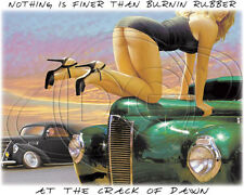 Dixie Shirt Burnin Rubber Crack Of Dawn Classic Car Vehicle Hot Rod Outlaw Chick