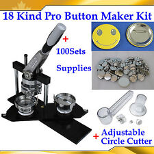 18Kinds Pro Badge Button Maker Machine+Adjust Circle Cutter+100 Pinback Parts