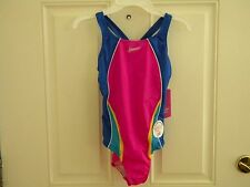 NWT Speedo Hot Pink Racer Back Girls Swimsuit Bathing Suit 1 Piece Swimwear
