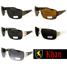 Khan Fashion Sports Aviator Sunglasses Biker Driving Trendy Black Silver Brown