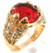 Size 9/10/11 Jewellery Vintage Men's 10KT Yellow Gold Filled 15ct Huge Ruby Ring