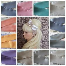 NEW SATIN BENDY WIRED WIRE HAIR WRAP SCARF HEAD BAND 60s RETRO 50s VINTAGE PALE