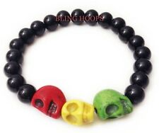 NEW Bling Hoops Rasta Skull Bracelet Bob Marley Skulls Beads Men Women Weed