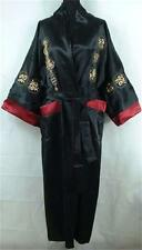 Double-face Chinese men's silk bathrobe robe/gown Burgundy Sz M L XL XXL XXXL