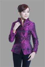 Chinese Women's silk embroidery jacket /coat plum color Sz:M L XL XXL XXXL