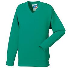 New JERZEES SCHOOLGEAR Kids V-Neck Sweatshirt in 11 colours 3-12 years