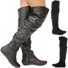 Ladies Black Flat Winter Walking Style Heel Over Knee Thigh High Knee Boots Size