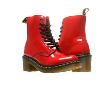 Dr. Martens Clemency 8-Tie Red Leather Womens Boots 14638601