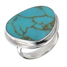 925 Silver Ring Fashionable Synthetic Turquoise Size 5-10