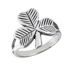 925 Silver Clover Etched Shamrock Irish Ring Size 3-9