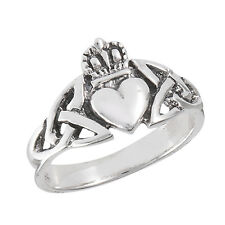 Sterling Silver Ring Claddaugh Claddagh Design Size 4-13