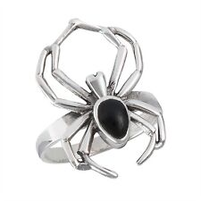 Sterling Silver BLACK WIDOW Spider Ring Onyx Size 5-12