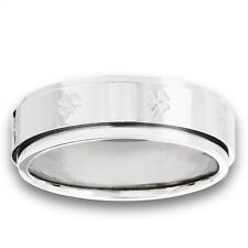 Spinning Stainless Steel Spinning Irish Shamrock Fashion Ring Size 8-18