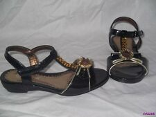 GIRLS PINK WHITE OR BLACK SANDALS SIZE 7 8 9 & 10 DRESS SHOES GOLD GEMS NEW