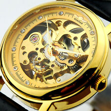 SH US Womens Wrist Watches Automatic Mechanical Leather Crystal Skeleton HOT