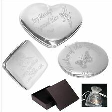 Engraved Compact Handbag Mirror Personalised Wedding Day Thank you Gift C1