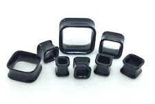 New Acrylic Double Flared Square Shaped Hollow Tube Black Plugs.( 6 g To 1inch)