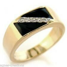 AGNES CREATIONS / BAGUE HOMME PL/OR 14 K SERTIE LIGNE EPUREE DE 5 ZIRCONIUMS