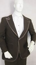 MENS VINTAGE TUXEDO COAT, BROWN AFTER SIX JACKET WITH SATIN BROWN STRIPE US MADE