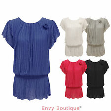 LADIES WOMENS CHIFFON WATERFALL SHIFT SHEER FLOWER DETAIL DRESS TOP 8 10 12 14
