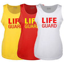 LADIES LIFE GUARD YELLOW RED WHITE RACER BACK VEST FANCY DRESS ALL SIZES