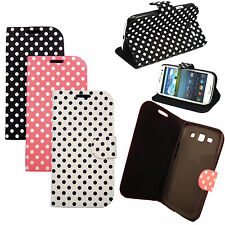 POLKA DOT SPOTS FLIP PU LEATHER CASE COVER WALLET POUCH HOLDER SKIN