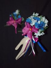 2pcs Corsage Boutonniere Lily Of the Valley & Fuchsia Purple Royal Blue Yellow