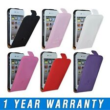Leather Flip Case Cover Pouch With Apple Logo & Screen Protector For iPhone 4 4S