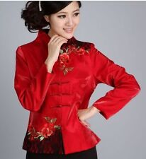 Charming Chinese Women's silk embroidery jacket /coat Burgundy Sz:8 10 12 14 16