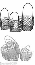 GISELA GRAHAM WIRE LOVE HEART BASKET TRUGS WEDDING FAVOUR DECORATION HOME GIFT