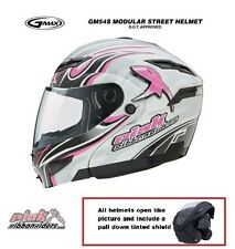GMAX GM 54S Modular Motorcycle White Pink Ribbon Helmet Girls Breast Cancer