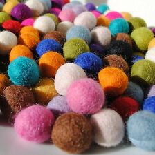 2cm Handmade Wool Felt Balls - packs of 20 - 7 colours to choose from