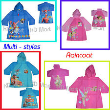 New Kids boys girls Raincoat hooded PVC at size3.4.5.6.7.8.9.10 multi styles