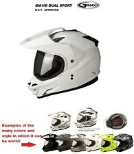GMAX GM11D Dual Sport White Motorcycle Helmet ATV UTV 4 wheeler Motocross Racing