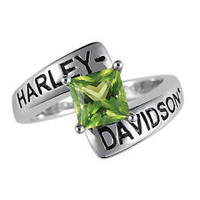 Harley-Davidson Silver Crossroads Birthstone Ring - August Peridot - NEW