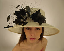 New Royal Wedding Hat Wide Brim Sinamay Feathers Flower Mother of The Bride