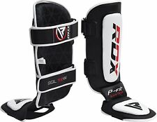 RDX Leather Gel Shin Instep Pads MMA Leg Foot Guards Muay Thai Kick Boxing UFC W