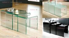 Nest of 3 Clear Bent Glass Side Coffee Tables - Transparent Three Corner Curved