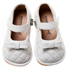 Little Blue Lamb NIB White Bows Leather Squeaky Shoes Toddler Girl sz 3 4 5 6 7