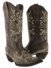 Womens cowboy boots ladies leather rhinestone crystal rodeo dance sexy new