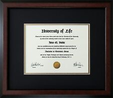 "Walnut Wood Frame with mats & glass for 15x20"" Diploma Certificate Document"
