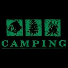 Camping Fitted Shirt Woods Nature Tent Fire Camper Wilderness Resort Hiking Boot