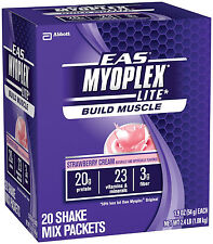 NEW EAS Myoplex Lite Shake 20 Packets Vanilla Cream Vanilla or Strawberry Cream