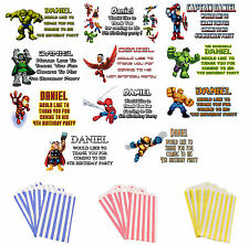 Super Hero Squad Marvel Personalised Stickers + Birthday Cake Bags pack 12 or 24