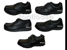BOYS BLACK COATED LEATHER SCHOOL/DRESS SHOES IN VELCRO AND LACE UP SIZES 13-6